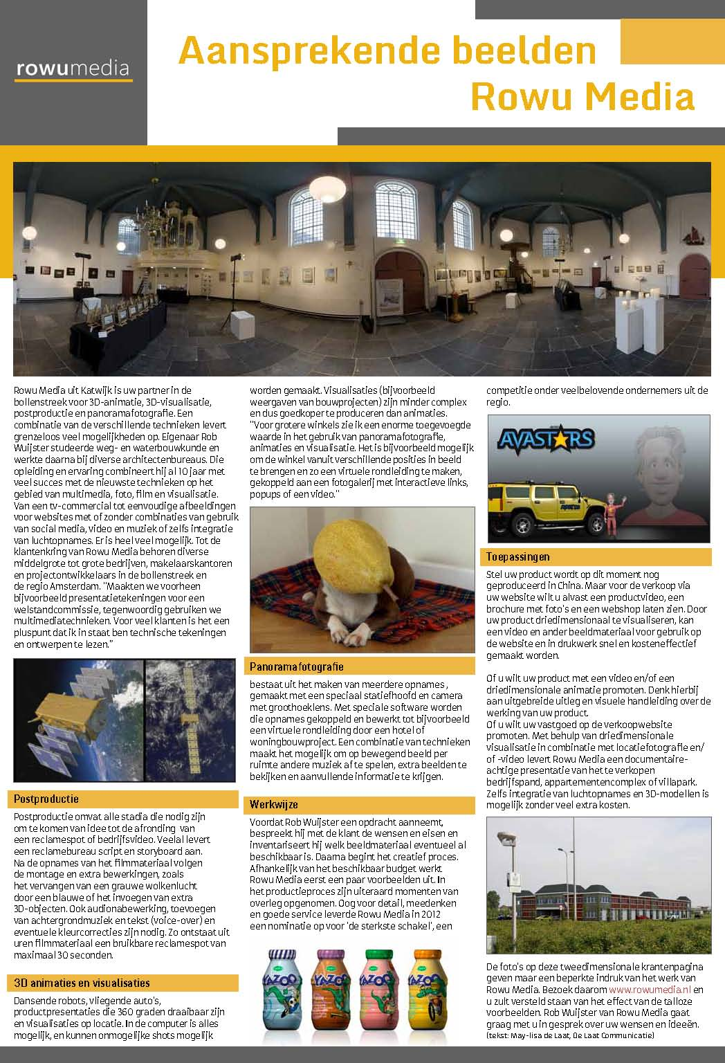 teksten advertentie RoWu door tekstschrijver Katwijk/Leiden/Bollenstreek De Laat Communicatie