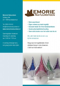achterkant omslag folder Memorie Natuursteen met tekst door May-lisa de Laat van De Laat Communicatie