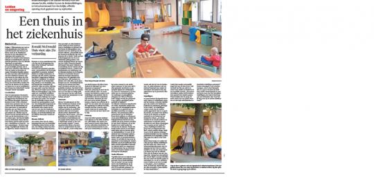 artikel May-lisa de Laat over nieuwe daktuin en 25-jarig jubileum Ronald McDonald Huis Leiden